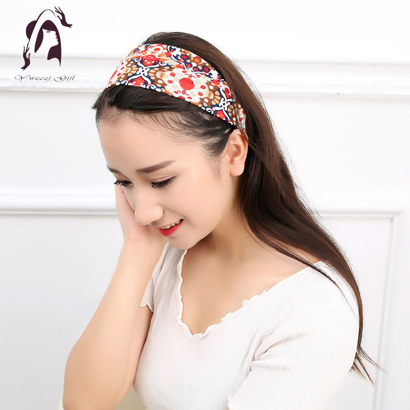 16colors Fashion Retro Women Elastic Turban Twisted Knotted Headband Ethnic Floral Wide Stretch Girl Yoga Hair Accessories 2016(China (Mainland))