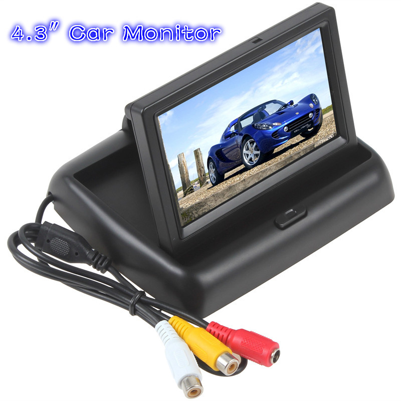 HD Folding 4.3 inch 16:9 TFT Color LCD Screen Monitor for Car Rearview Backup Reverse Camera DVD VCR 12V(China (Mainland))