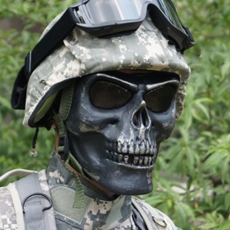 30pcs/lot Cool Paintball Hunting Game Skeleton Warrior Mask demon mask Full Face Protector Airsoft Skull Skeleton Mask CS mask(China (Mainland))