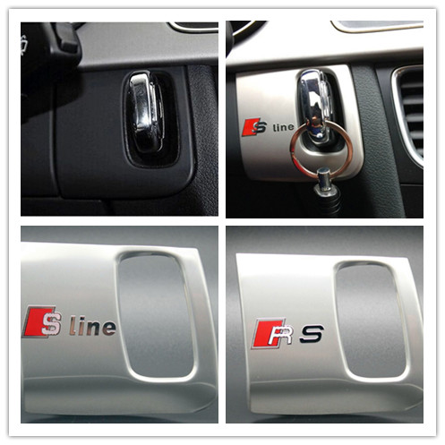 Interior car keyhole decorative frame cover trim stainless steel S/S line emblem/logo car 3D strip sticker for Audi A5 A4 09-15(China (Mainland))