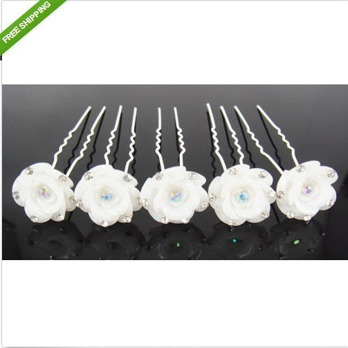20Pcs/Lot New Popular Style White Rose Flower Wedding Bridal Hair Pins Hair Sticks Women Gril's Hair Accessory Hair Jewelry(China (Mainland))