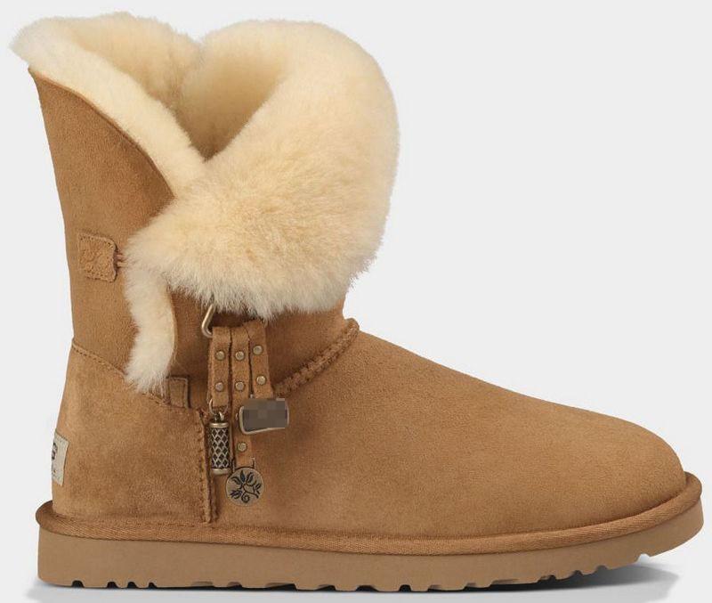 ซื้อ หนังแกะแท้100%จริงW OolsธรรมชาติขนShearlingอุ่นให้สบายผู้หญิงฤดูหนาวหิมะรองเท้าตกแต่งโลหะGN01