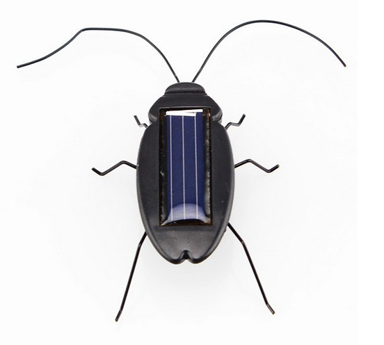 Top quality Solar Power Energy Cockroach 6 Legs Black Children Insect Bug Teaching Fun Gadget Toy Gift(China (Mainland))