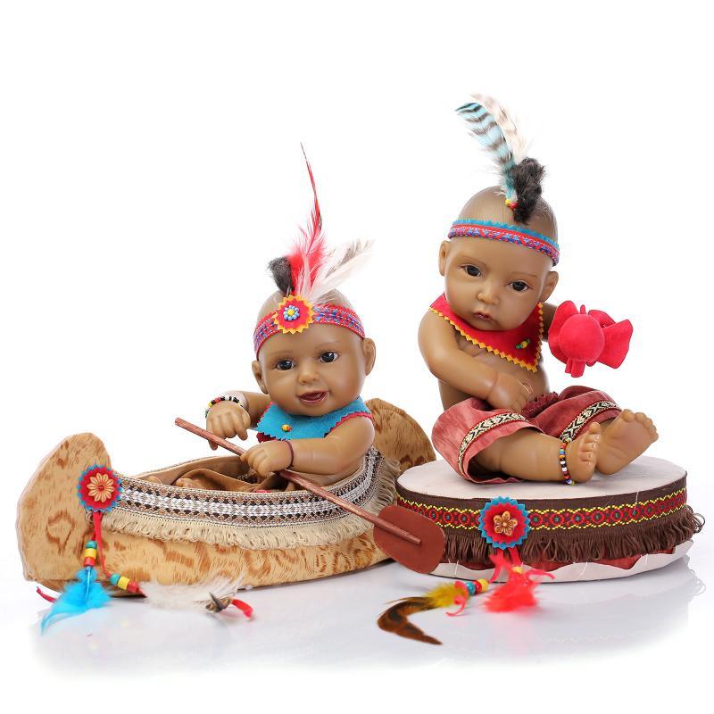 Hot Lifelike Soft Full Silicone Real Reborn Baby Twins Dolls Newborn Native American Indian Doll Kids Girl Boy Ethnic Doll Toys