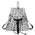 High Quality Fashion Women backpack 2016 Silver geometric patchwork diamond lattice backpack drawstring mochila Daily Backpacks