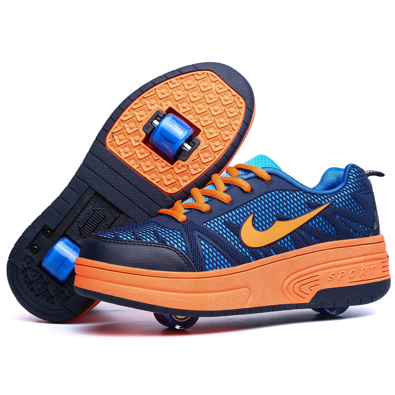 New 2015 Kids Fashion Brand Sneakers with Wheels Children Heelys with Double Wheels Boys Girls Roller Skate Shoes 903<br><br>Aliexpress
