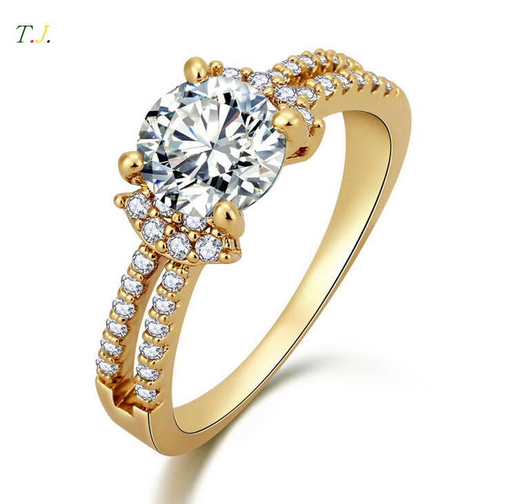 2colors 18k gold plated wedding rings for 2015 new 2