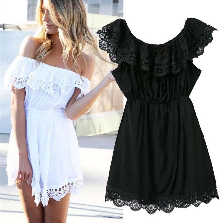 2015 Fashion women Elegant Vintage sweet lace white Dress stylish sexy slash neck casual slim beach Summer Sundress vestidos(China (Mainland))
