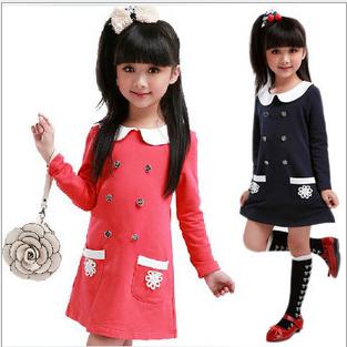 Free Shipping 2013 Autumn Girl Elegant One-piece Dress Long-sleeve Cotton Baby Princess Dress