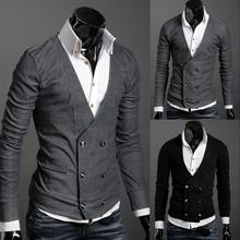 Trasporto libero 2015 di marca uomini di modo maglione doppio petto in lana cashmere uomo capispalla moda maglione caldo di vendita(China (Mainland))