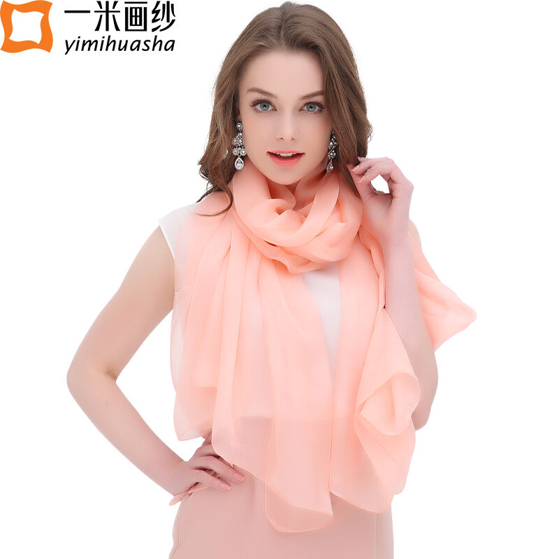 2017 Pure silk scarf luxury brand for women spring shawl wraps foulard femme smooth touch multi candy color long size 180*110 cm(China (Mainland))