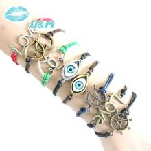 [Min. 6$]Wholesale anchor bracelets antique Love Heart Leather stars Bracelet Charm Wristbands Cheap bracelet wholesale S144(China (Mainland))