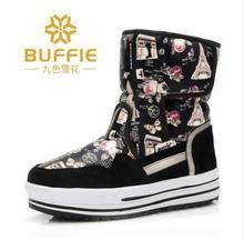 2016 Nueva Llegada Impermeable Ligera de Las Mujeres de Mitad de la pantorrilla Botas de Nieve antideslizante Espesantes Caliente botas de Algodón Zapatos de Tamaño 36-41 Disponible(China (Mainland))