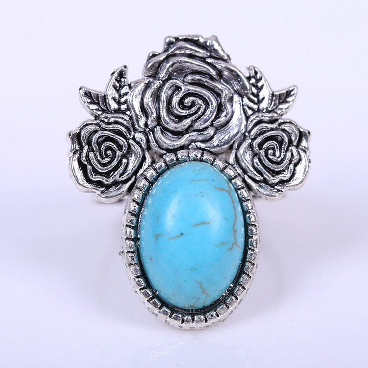 Vintage Turquoise Rings For Women Tibetan Silver Plated Rose Adjustable Custom Nfl Replica Jerseys Dragon Claw Rings(China (Mainland))