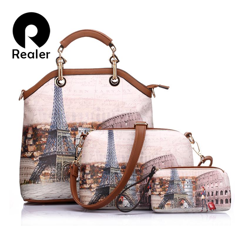 New Realer brand printed leather bag vintage handbag womens medium big tote bags female crossbody bags for women handbag 3 sets(China (Mainland))