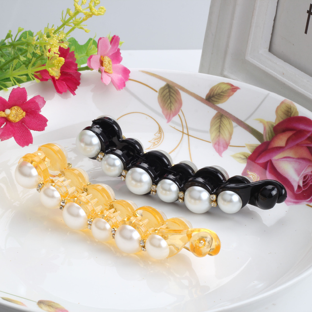 New Hot Sale Women Luxury Banana Hair Clip 10.5cm Length Girls Hair Accessories Sweet Pearl Crystal Hair Clip Jewelry Barrette(China (Mainland))