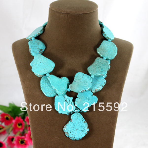 Best Selling Natural Turquoise Necklace Chunky Turquoise Summer Necklace Jewelry Free Shipping AJS027(China (Mainland))