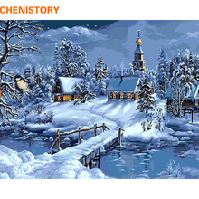 CHENISTORY Christmas Snow Landscape DIY Painting By Numbers Kits Drawing Painting By Numbers Unique Christmas Gift For Childrens(China (Mainland))
