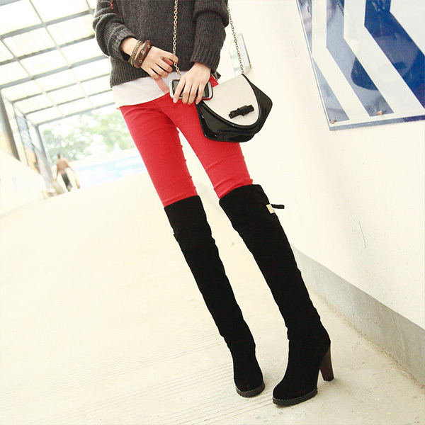 2014 fall winter new bag mail tall canister boots over the knee boots Han fine high-heeled shoes Knight boots 34-39 XY010(China (Mainland))