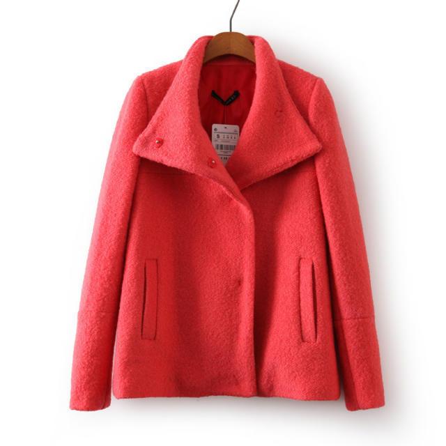 2014 Fashion Ladies' Wool Jacket Long Sleeve Blazer Big Turndown Collar Lapel blazer Pure color Woolen Coat CCA77