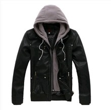2015 Men jacket Slim Black  Double Layer Double Zipper Hooded men Leather Jacket High Quality(China (Mainland))