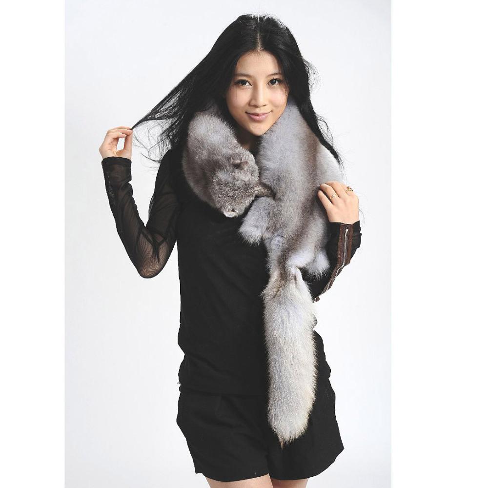 TOP QUALITY men WOMEN genuine real fox fur scarf collar Winter Warm fox fur capes Stole Wrap Pashmina lady luxury scarf(China (Mainland))
