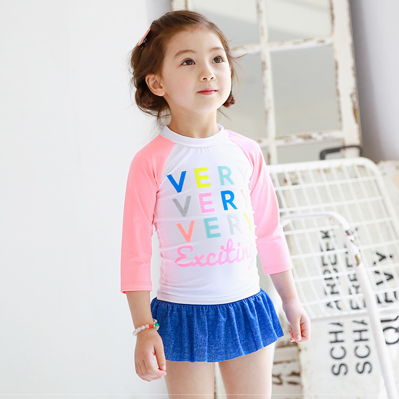 2016 new arrival toddler girl swimsuits kids t shirt+dress girl swimming clothes little girls bathing suit(China (Mainland))