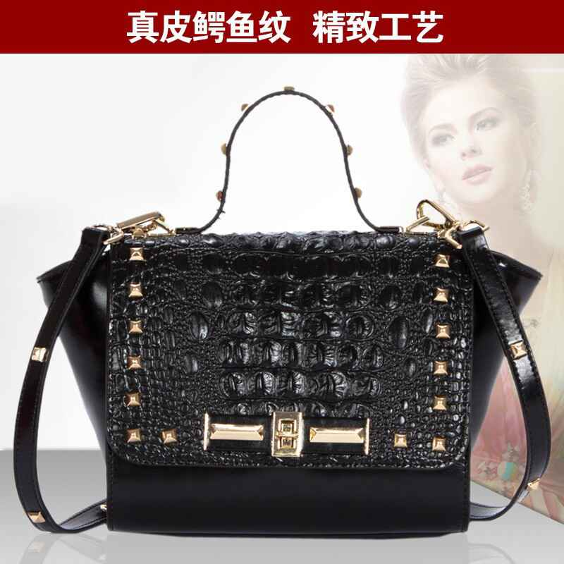 Small Pack of stylish leather handbag crocodile pattern leather small bag European style single diagonal shoulder bag leather wo(China (Mainland))