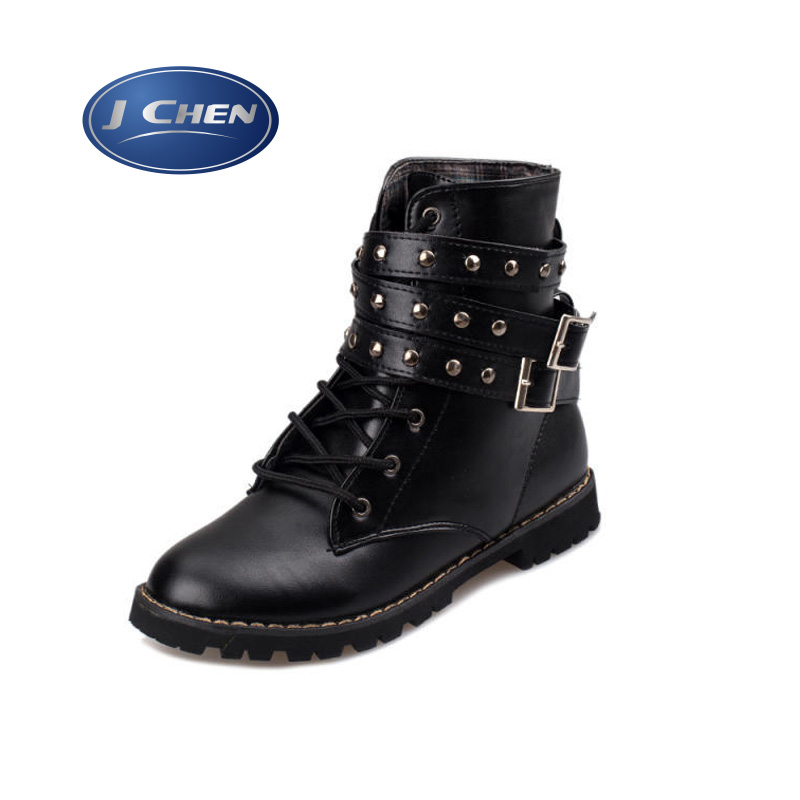 free shipping Ladies Vintage Rivet Combat Army Punk Goth Ankle Shoes Biker Leather Autumn women boots  Buckle Elastic Bootie<br><br>Aliexpress