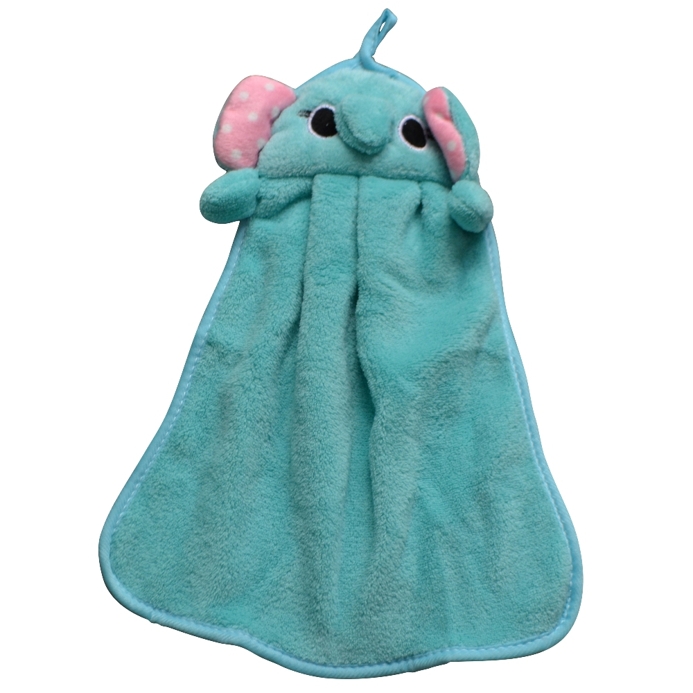 Children Kids Beach Hanging Kitchen Bath Room Absorbent Dry Hands Cute Lovely Knitted Flocking Soft Microfiber Fabric Hand Towel(China (Mainland))