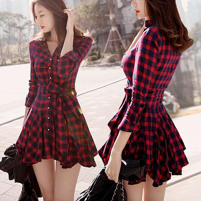2015 Fashion Korean temperament retro classic plaid long-sleeved dress was thin waist dress bottoming(China (Mainland))