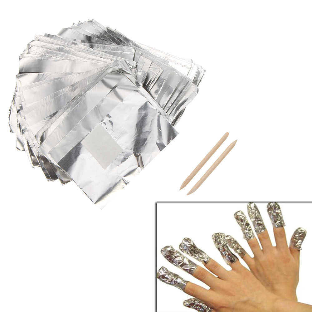 100pcs Aluminum Foil Paper Nail Art Soak Off Gel Wraps Gel Polish Remover Cleaner Tool Set(China (Mainland))