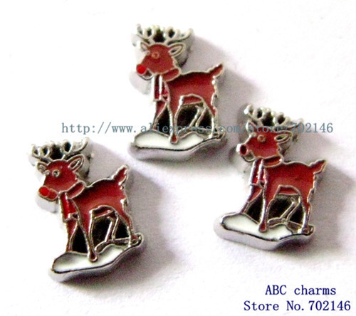 Free Shipping New Style 10pcs Deer Floating Locket Charms Fit Living Memory Floating Memory locket FC324 Christmas Charms(China (Mainland))