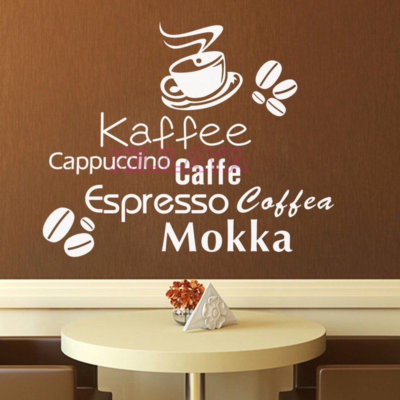 German English <font><b>Italian</b></font> Kaffee Coffee Beans Mokka Vinyl Wall Stickers for Kitchen Coffee Shop Wall Decals <font><b>Home</b></font> <font><b>Decor</b></font> Decoration