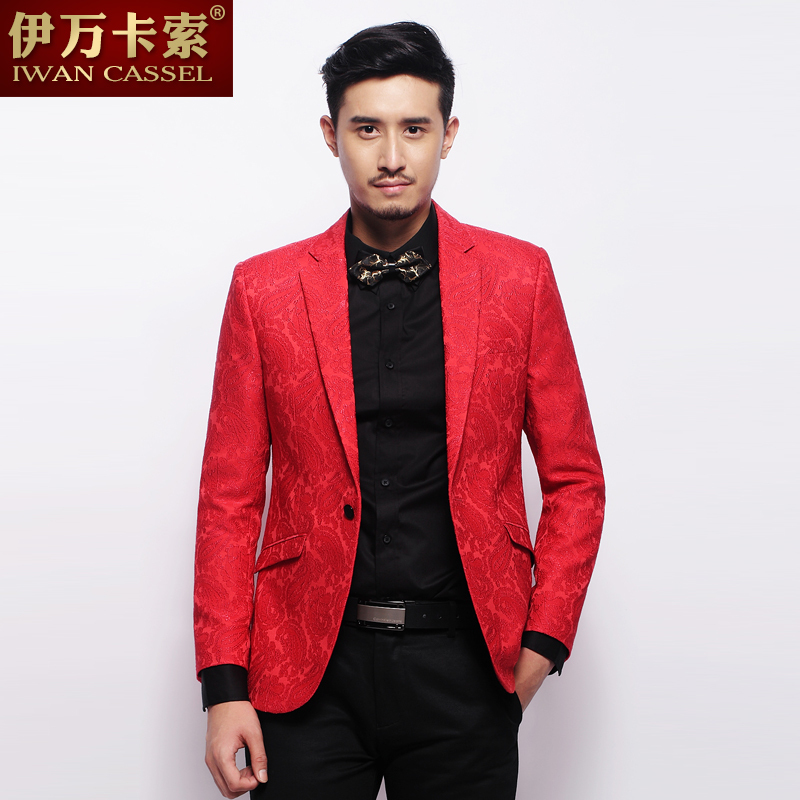 Red Mens Suit Jacket Dress Yy