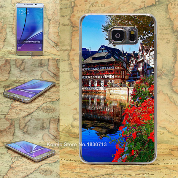 Christmas Market Strasbourg Pattern transparent clear hard Cover Case for Samsung galaxy note 2 3 4 5 s4 mini s6 edge+(China (Mainland))