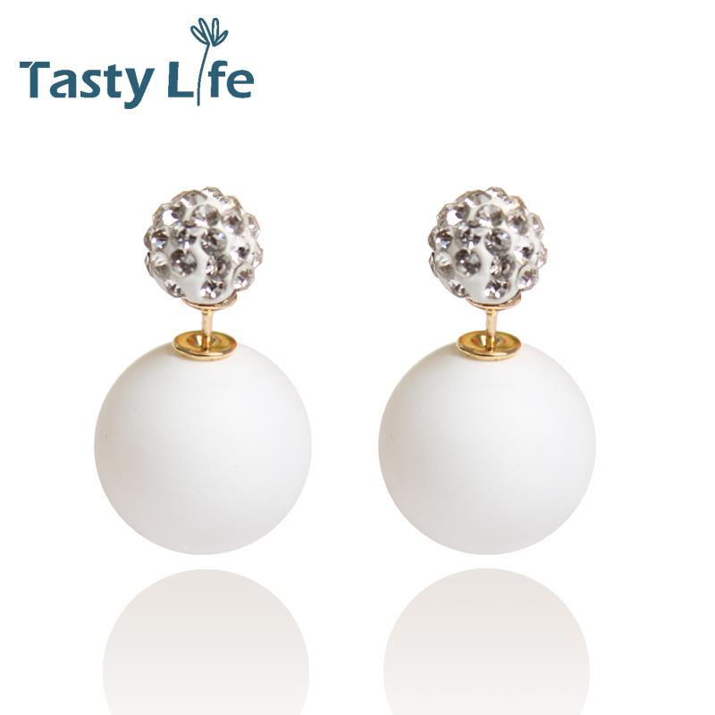 High quality/Double Faced Pearl Stud Earring/Elegant Temperament/Crystal earrings/Free shipping/16 Colors Can Choose TLDE15033(China (Mainland))