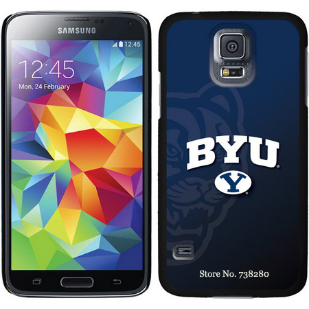 Brigham Young Samsung Galaxy S5 Cases With Watermark Sketchy Chevron Dark Camo BYU Mascot Design