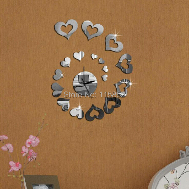 ! retail 3d DIY mirror wall home decor modern ,leaves design,antique clock ,heart clock! - Fashion Joya Store store