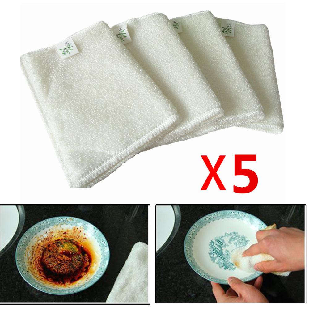 Free Shiping 5 pcs White 18*23CM Double Thickness Bamboo Fiber Kitchen Dish Wash Cloth Towel Rags(China (Mainland))