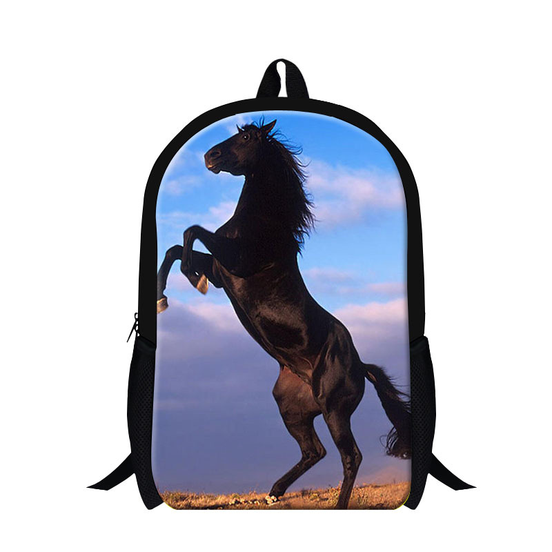 Fashion mens horse back pack,plush horse 3D print backpack for children boys,cool school bags for kids school,stylish travel bag(China (Mainland))