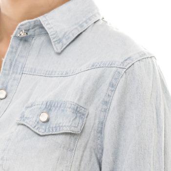 2014 новый винтаж женщин с длинным рукавом синий жан блузка джинсовый рубашка ретро широкий длинные топ #5806