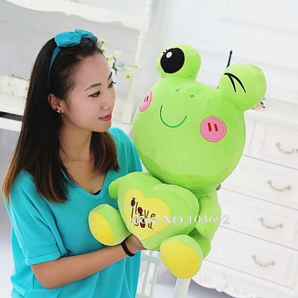 creative lovely plush frogs toy soft cute frog doll with heart birthday valentines gift for children kids stuffed dolls 50cm(China (Mainland))