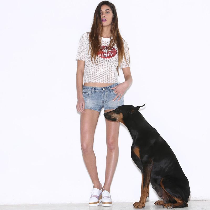 Fasicat 2015 New Brand Summer Crop Top O-Neck Short Sleeve Solid Appliques Fashion Women's T Shirt Cotton Chiffon Women Tops(China (Mainland))