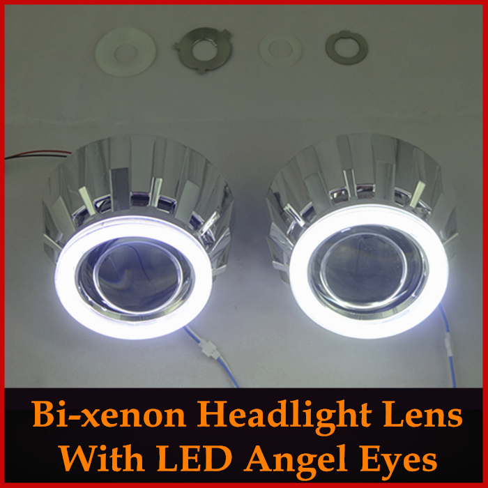New Arrival Hid Bi xenon Projector Headlight Lens Kit With COB LED Angel Eyes Halo H1 H4 H7 Car Styling Xenon Headlamps Retrofit(China (Mainland))