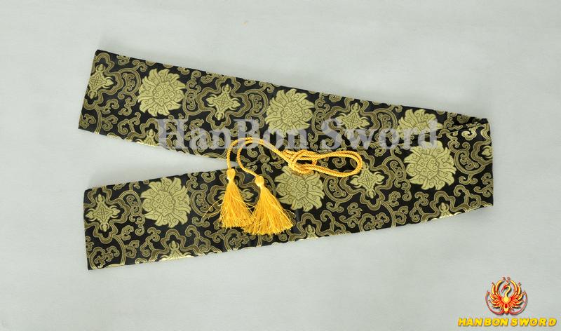 Japanese Samurai Katana Sword Bags Black & Yellow Propitious Clouds Style Artificial Silk Carring Custom Case Swords Fittings(China (Mainland))