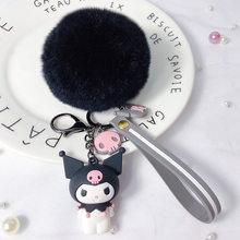 Fluffy Rabbit Fur Pom Pom Animais dos desenhos animados Olá Kitty Melody Boneca Chaveiro Bolsa Pingente de Mulheres Anel Chave Do Carro Chaveiro bugigangas(China)