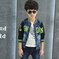 High end autumn boy patchwork fashion blue denim coat slim jeans contrast denim jacket printed alphabet