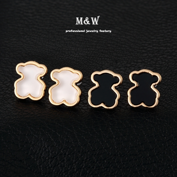 Hot Sale! 303207 Fashion Cute Bear Stud Earrings 18K Gold Plated Studs Jewelry for Girls(China (Mainland))
