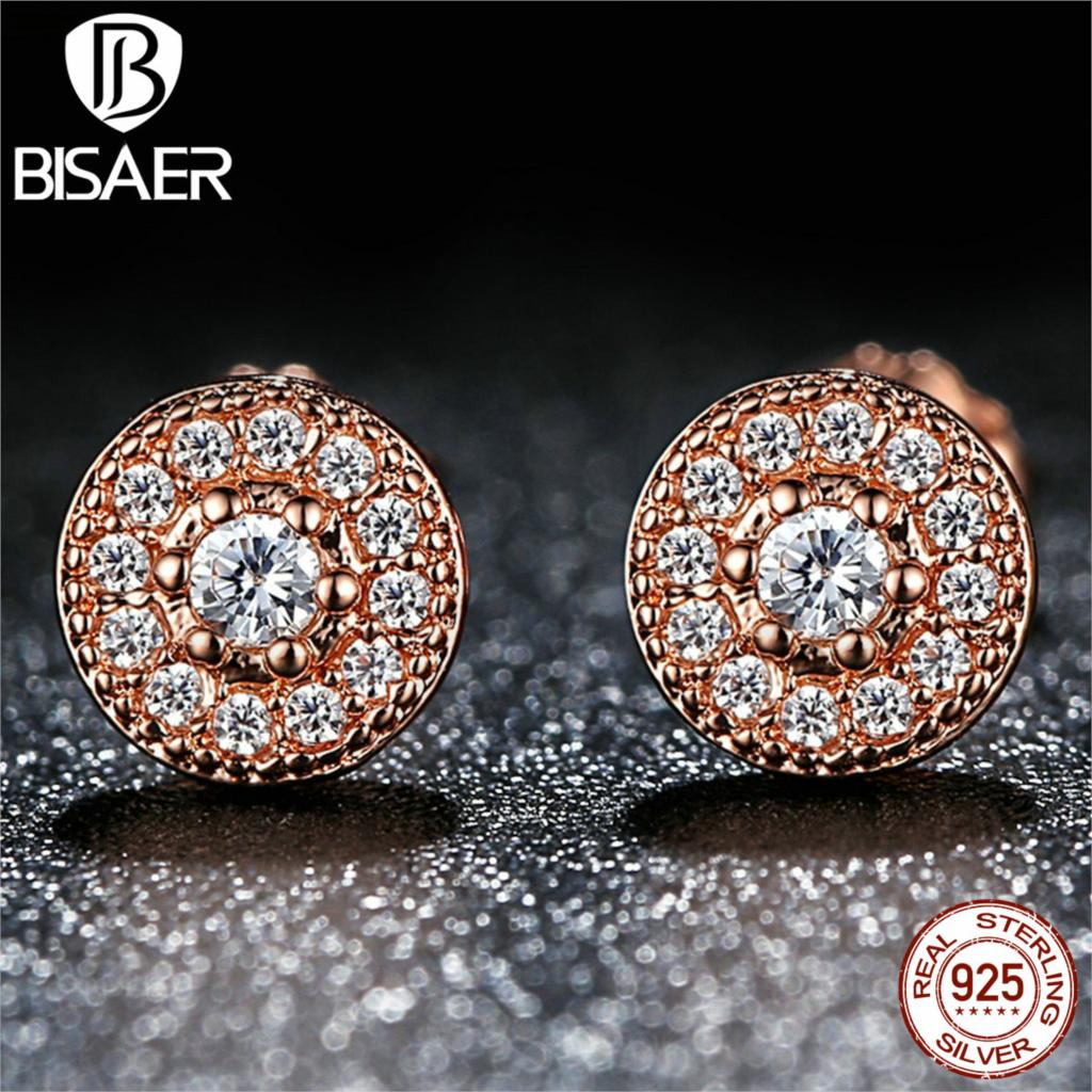 BISAER 925 Sterling Silver Radiant Elegance, 14K Gold & Clear CZ Women Push-back Stud Earrings Compatible with Pandora Jewelry(China (Mainland))